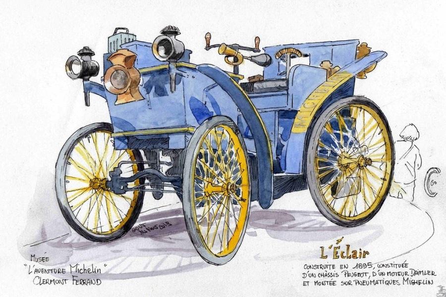 L'Éclair, prvé auto obuté do pneumatík