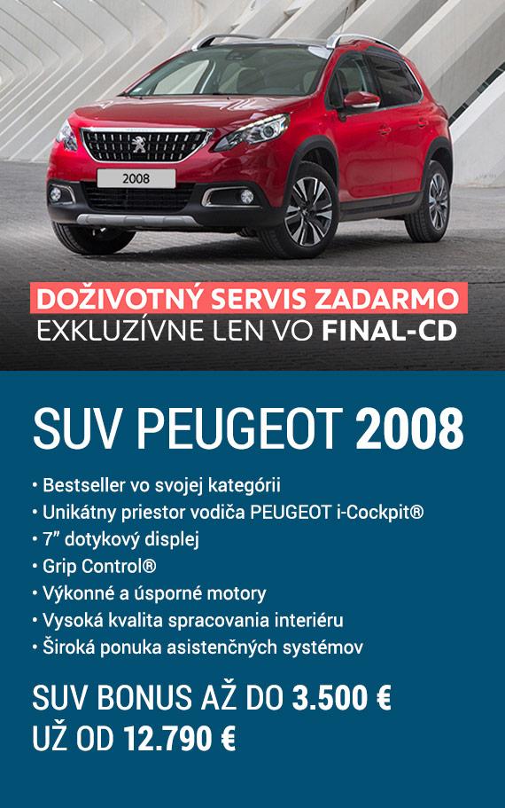 """SUV Peugeot 2008 • Bestseller vo svojej kategórii• Unikátny priestor vodiča PEUGEOT i-Cockpit® • 7"""" dotykový displej• Grip Control® • Výkonné a úsporné motory • Vysoká kvalita spracovania interiéru • Široká ponuka asistenčných systémov. SUV bonus až do 3.500 €. Už od 12.790 €. Doživotný servis zadarmo exkluzívne len vo FINAL-CD."""
