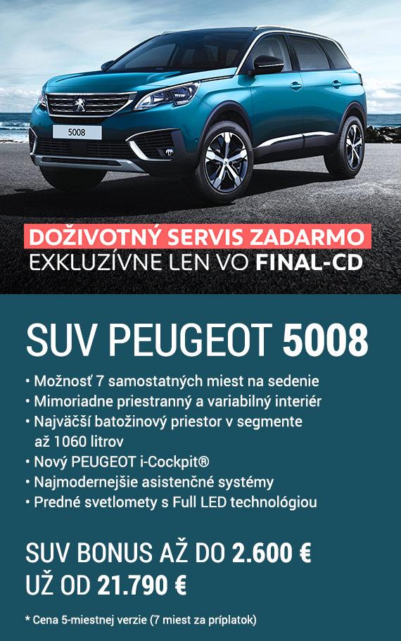SUV Peugeot 5008 • Možnosť 7 samostatných miest na sedenie • Mimoriadne priestranný a variabilný interiér • Najväčší batožinový priestor v segmente až 1060 litrov • Nový PEUGEOT i-Cockpit® • Najmodernejšie asistenčné systémy• Predné svetlomety s Full LED technológiou. SUV bonus až do 2.600 €. Už od 21.790 €*. * Cena 5-miestnej verzie (7 miest za príplatok). Doživotný servis zadarmo exkluzívne len vo FINAL-CD.