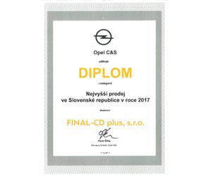 Opel najväčší predaj v SR za rok 2017